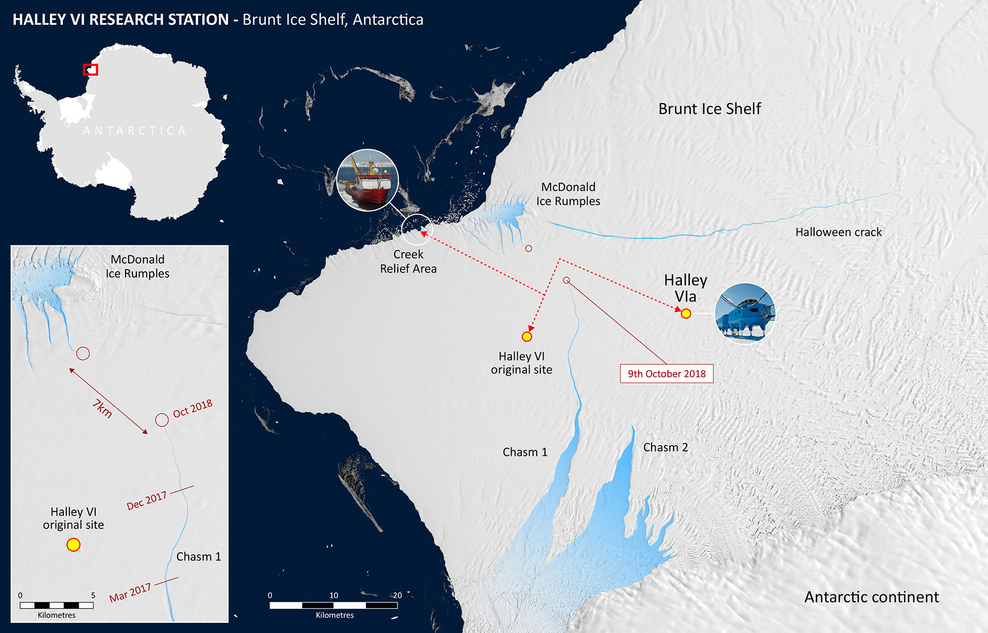 , The Brunt ice shelf calved an iceberg that is one mile thick and the size of London., The Politicus