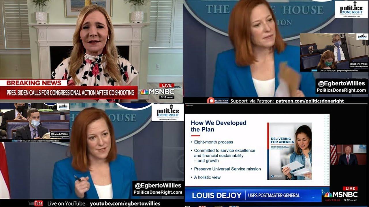 DC wonks talk filibuster, Americans want action. Jen Psaki on bipartisanship. Postal Service
