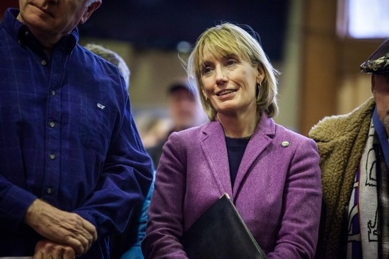 Governor Maggie Hassan is seen during a celebration of the completed Mittersill project at  Cannon Mountain in Franconia on Tuesday, Dec. 27, 2016. (ELIZABETH FRANTZ / Monitor staff)