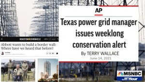 Texas Priorities! Gov. Abbott wants to build a wall but cannot keep the electricity on in Texas.