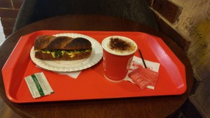 of trying the new drink and sandwich at CCD for a friend