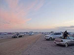 cars on the beach