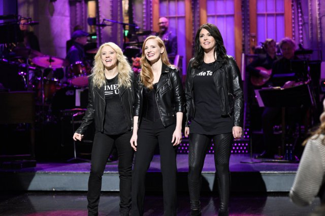 Kate McKinnon Jessica Chastain Cecily Strong on SNL
