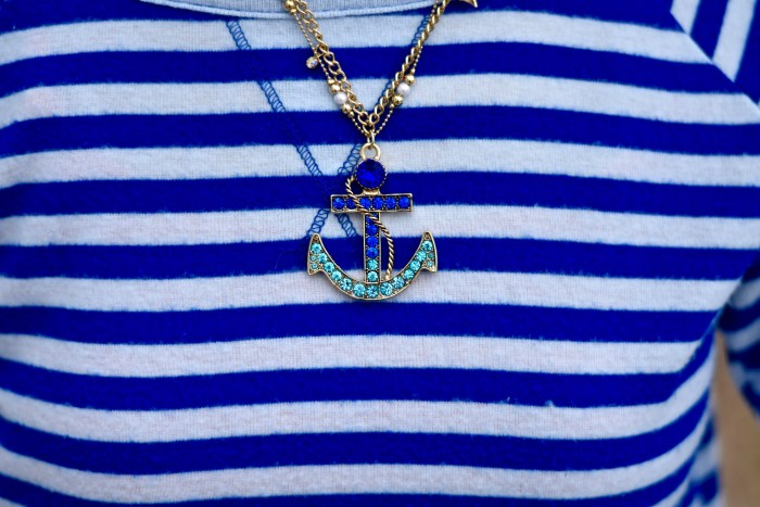 Spring Sweaters- Nautical Anchor Necklace-thepoppyskull.com