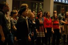 The Pop-Up Choir singing at The Flicker Club's #skyhighcinema at The View From The Shard