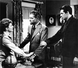 From the movie Talk of the Town, Cary Grant, Ronald Coleman and Jean Arthur. Photo courtesy Columbia Pictures archives