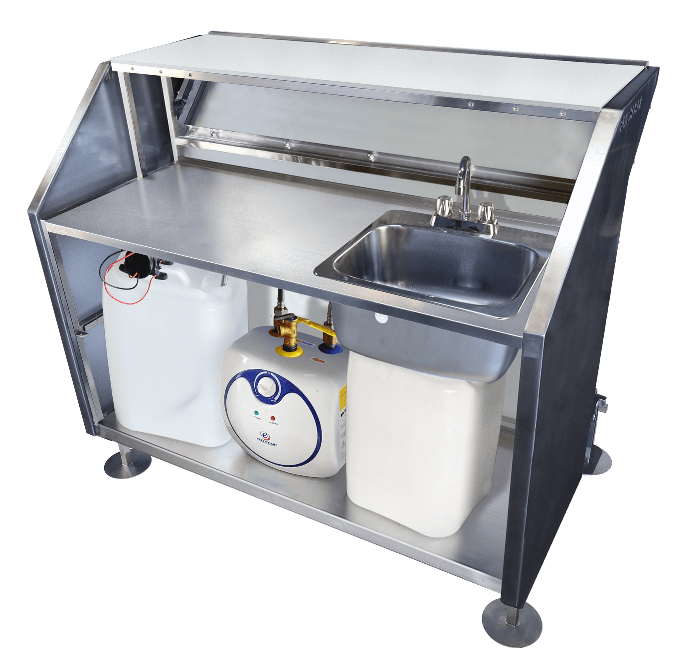 hand washing station with self contained sink hot room temp water