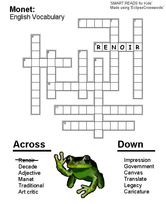 Free Kid's / Children's Crosswords to Print: Monet