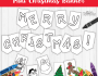 Merry Christmas Mini Banner Coloring Page
