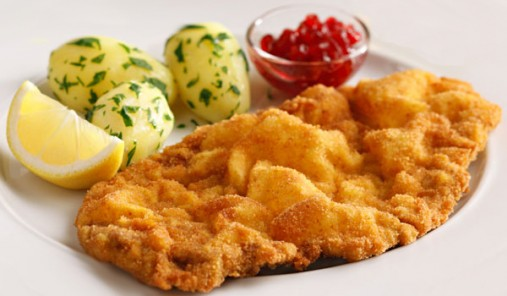 Eating Schnitzel in Germany