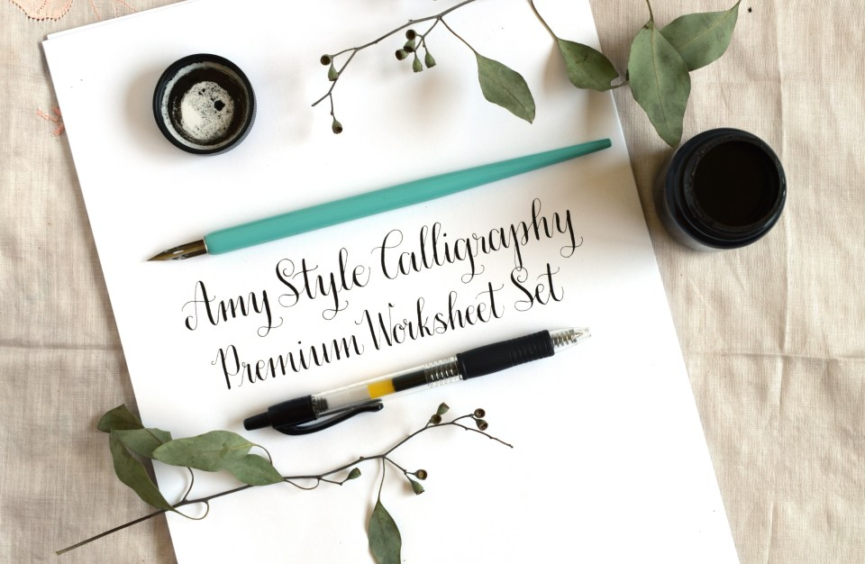 Premium {Amy Style} Calligraphy Worksheet Set | The Postman's Knock