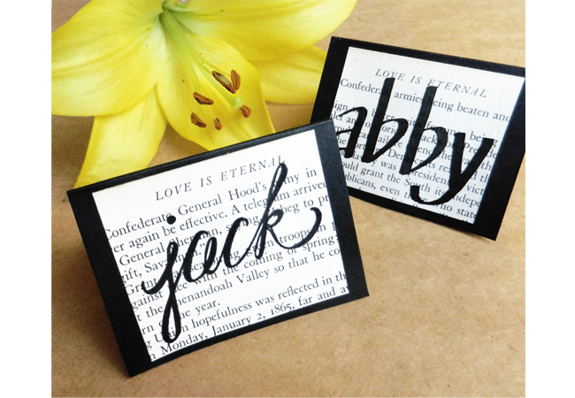 DIY Place Cards Made from Vintage Book Pages (With Appreciation Notes Inside!)   The Postman's Knock by Lindsey Bugbee