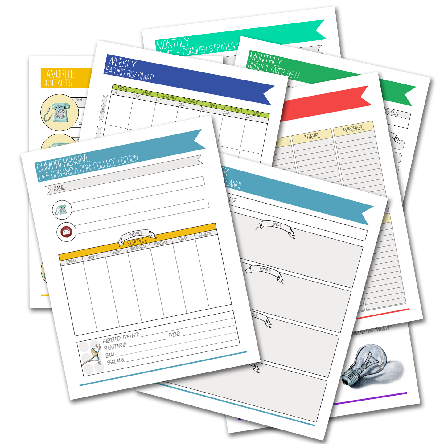Printable Comprehensive Life Organization College Planner – The Postman's Knock