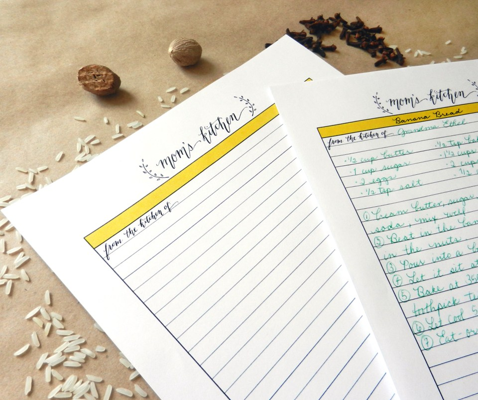 Mom's Kitchen Recipe Template | The Postman's Knock
