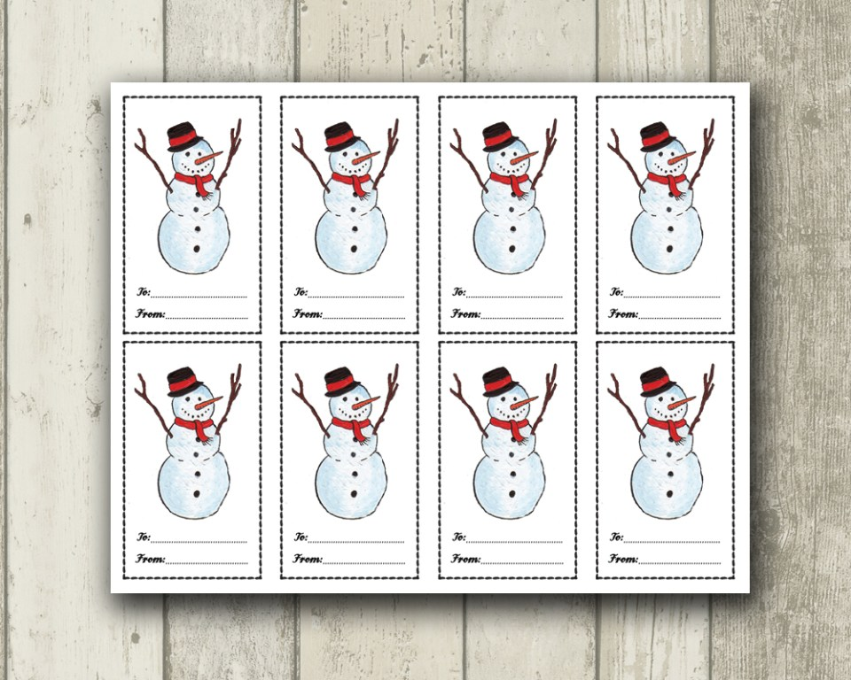 Snowman Gift Tags | The Postman's Knock