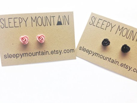 Tiny Rose Earrings by Sleepy Mountain | Small Gift Idea - The Postman's Knock