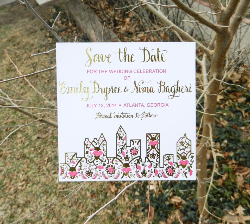 Gold Foil + Letterpress Save the Date | The Postman's Knock