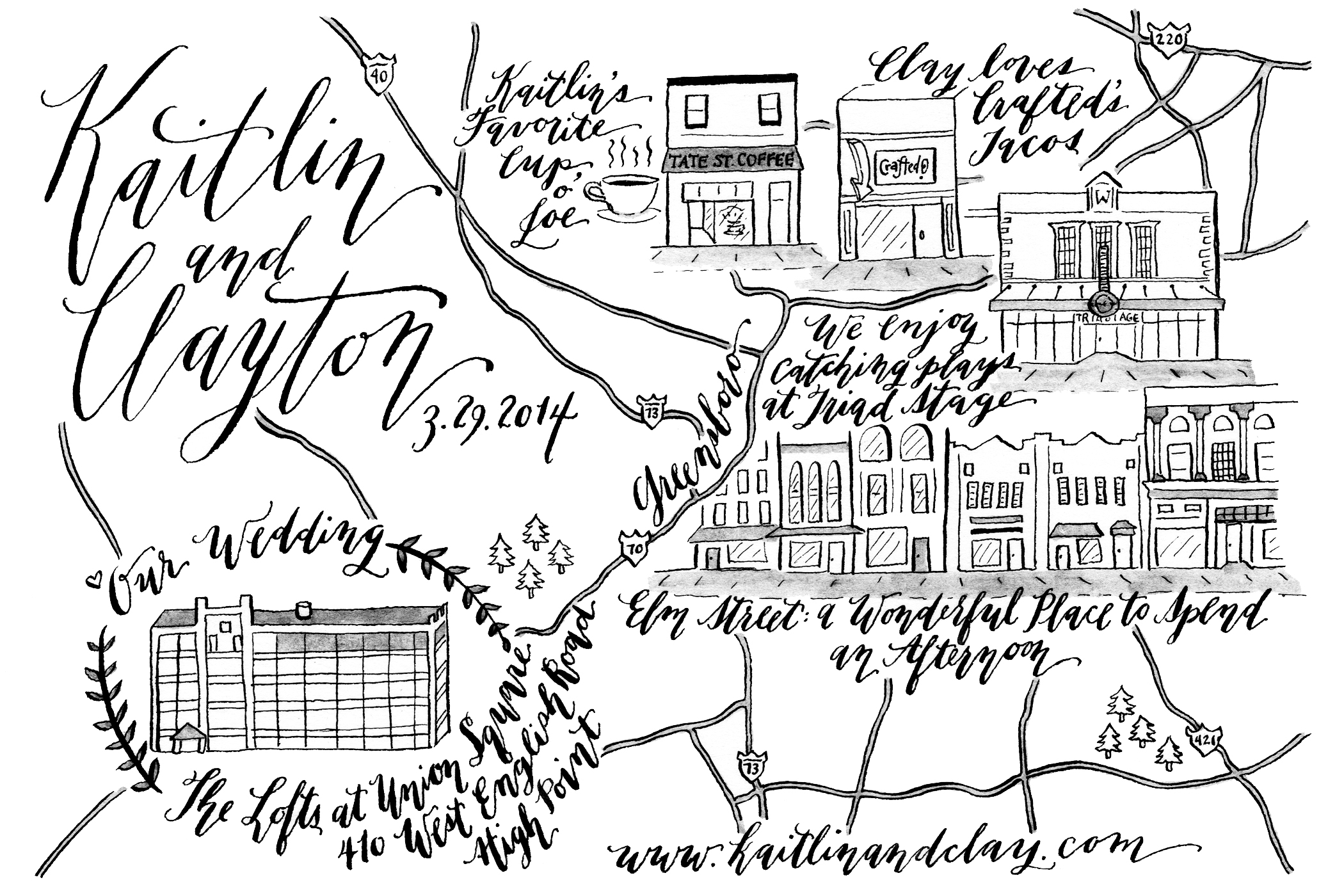 Illustrated Wedding Map   The Postman's Knock