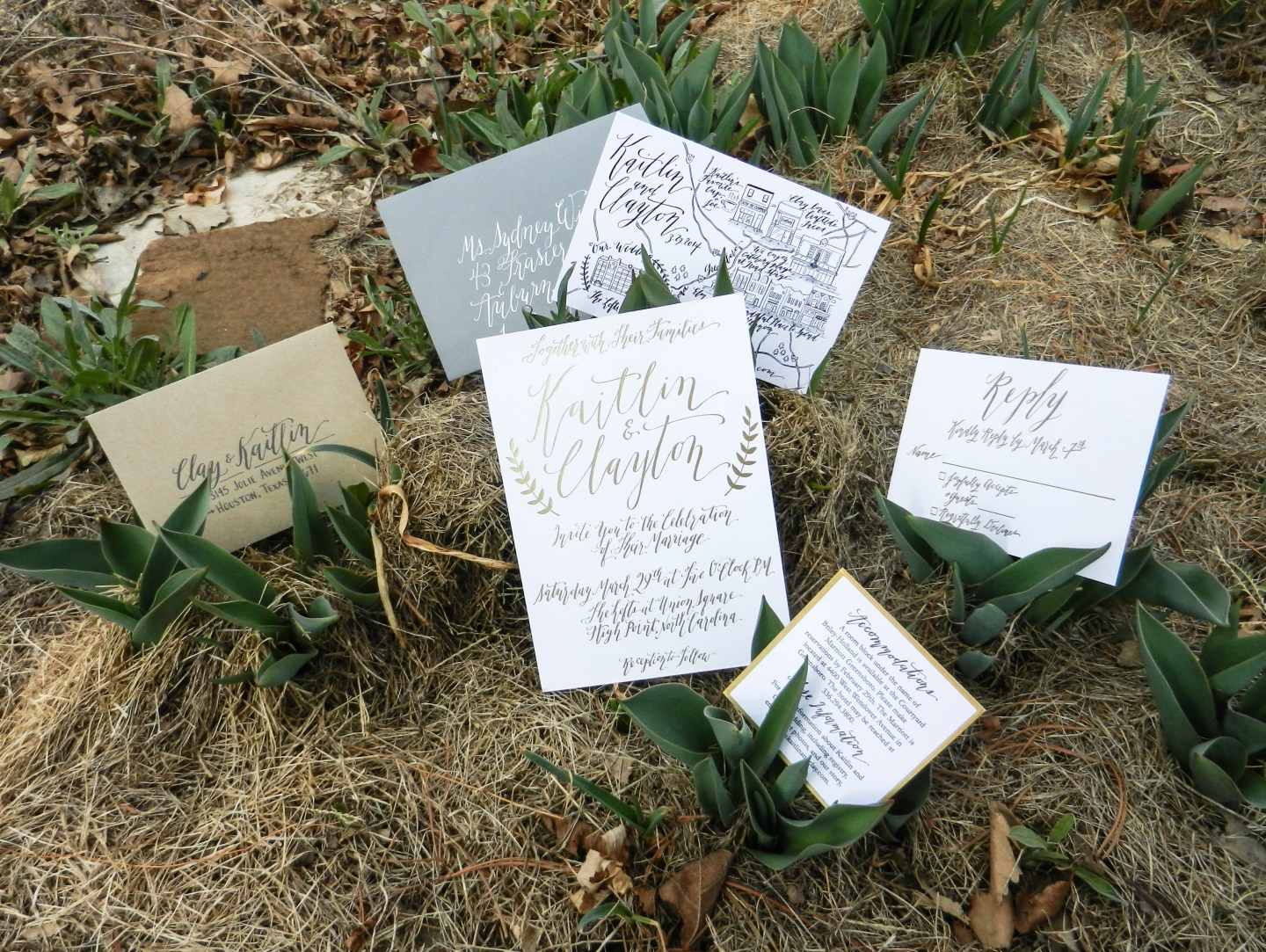 Gold Foil Calligraphy Wedding Invitations | The Postman's Knock