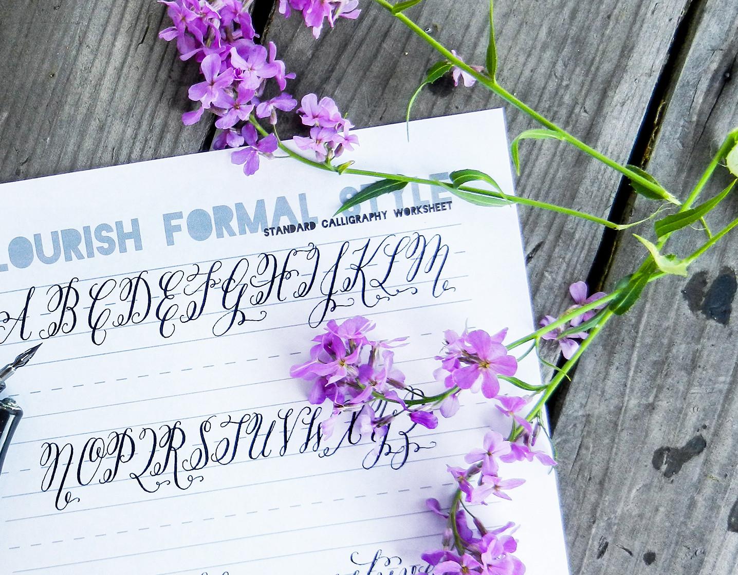 Flourish Formal Style Calligraphy Worksheet   The Postman's Knock