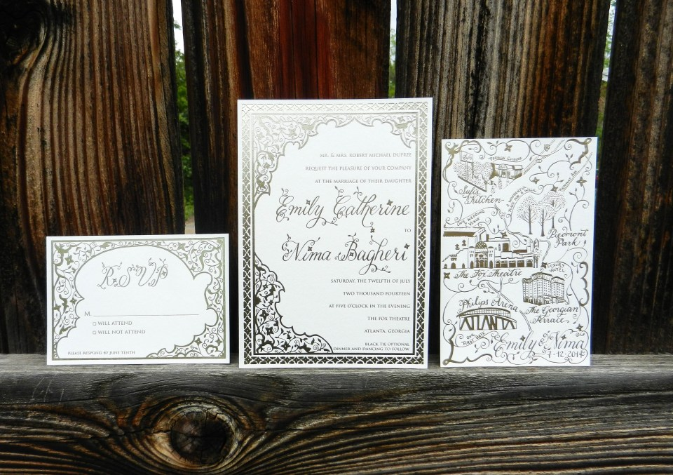 Persian-Inspired Gold Foil Invitation Suite | The Postman's Knock