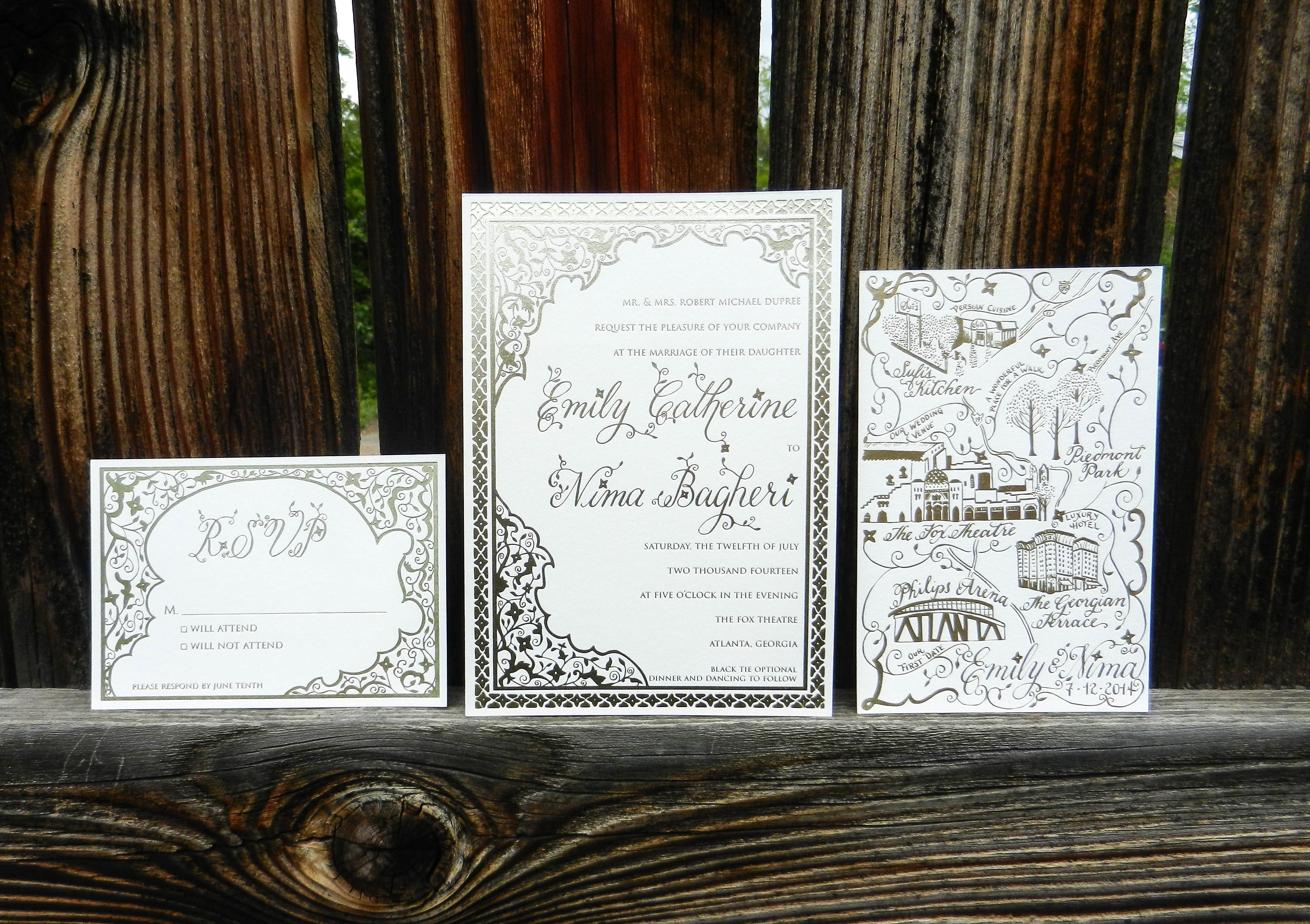 Persian-Inspired Gold Foil Invitation Suite   The Postman's Knock