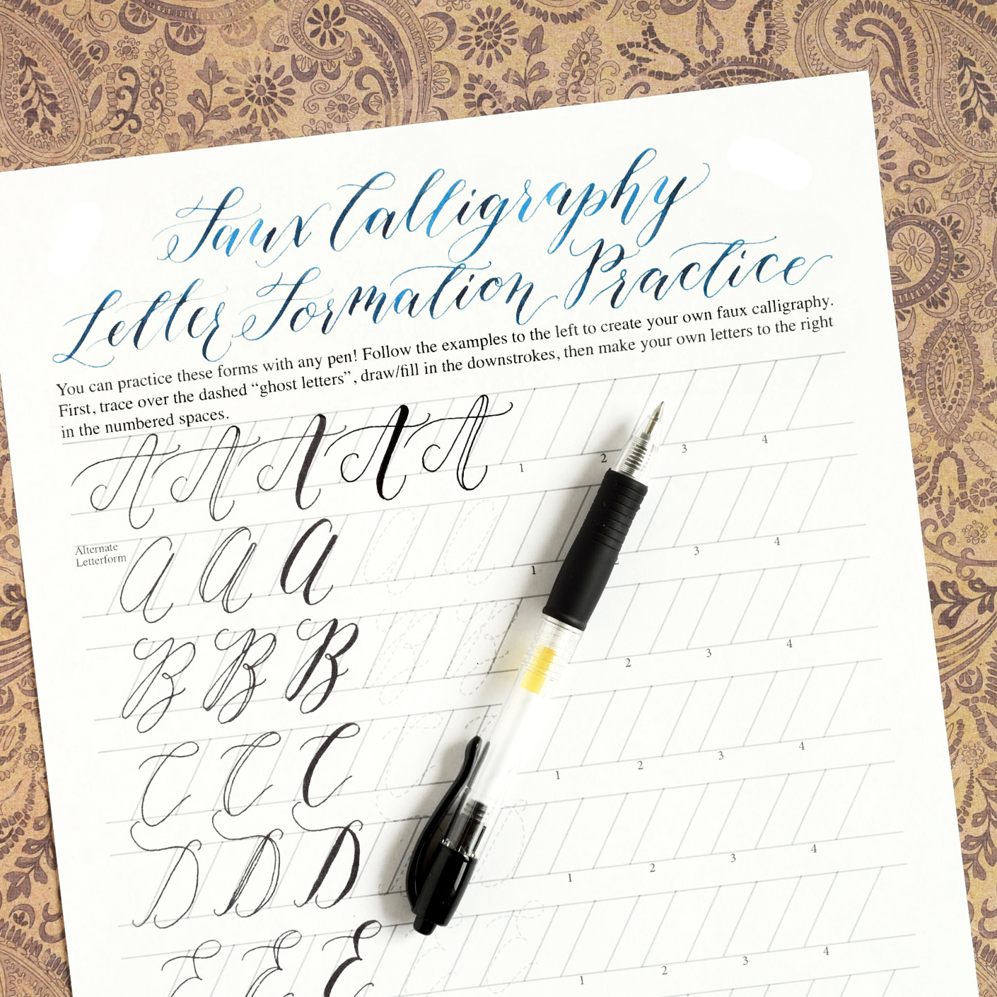 Premium Calligraphy Worksheet Set Kaitlin Style