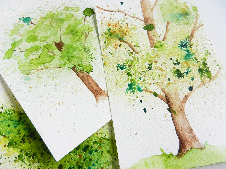 Spatter Watercolor Tree Tutorial | The Postman's Knock