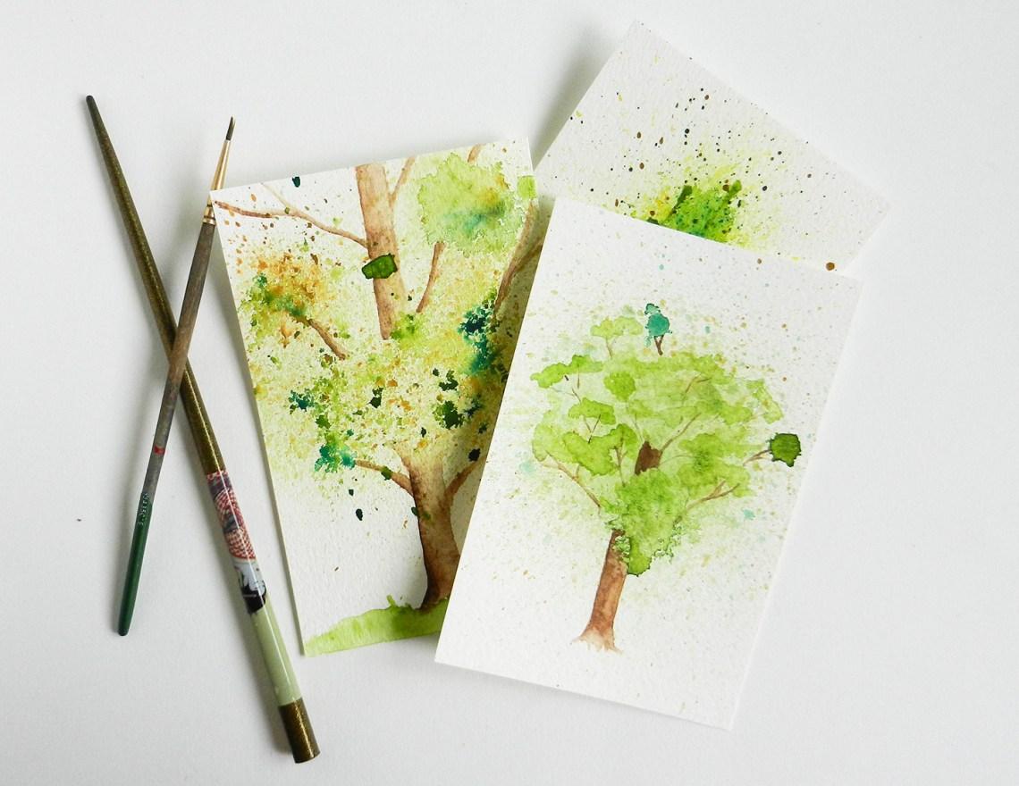 Spatter Watercolor Tree Tutorial   The Postman's Knock
