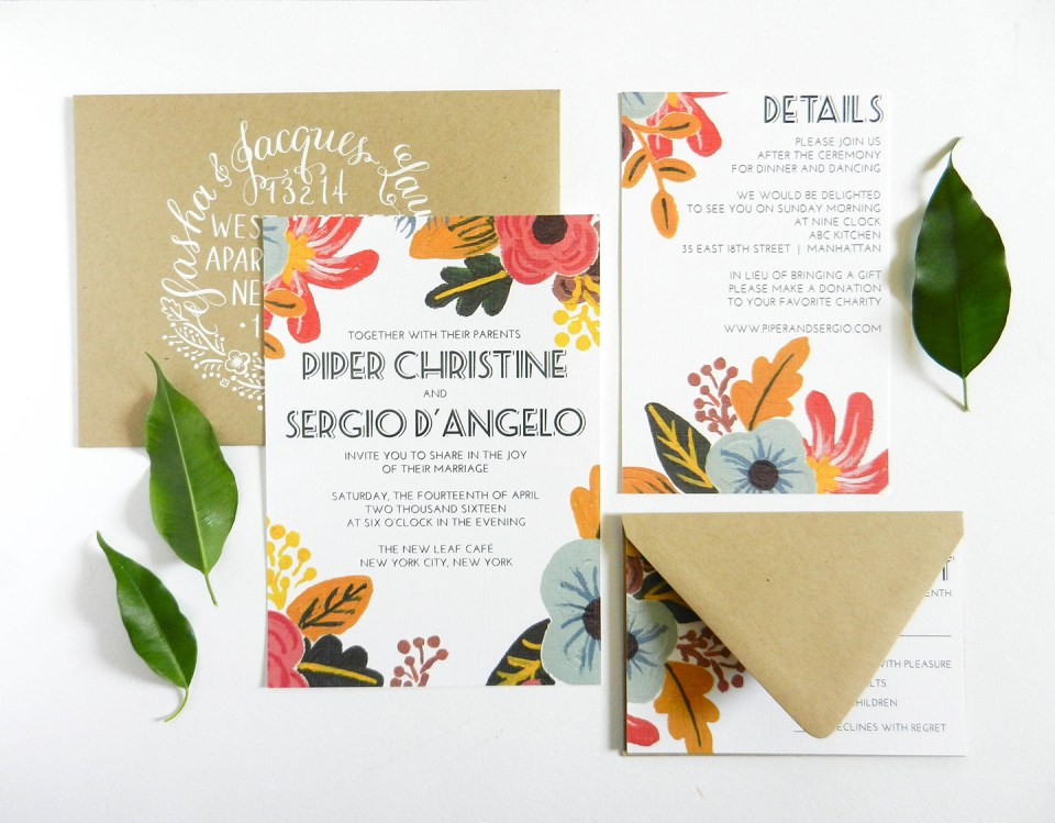 Retro Floral Wedding Invitations | The Postman's Knock