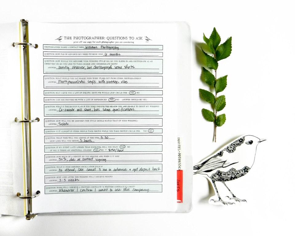 Printable Wedding Planner   The Postman's Knock