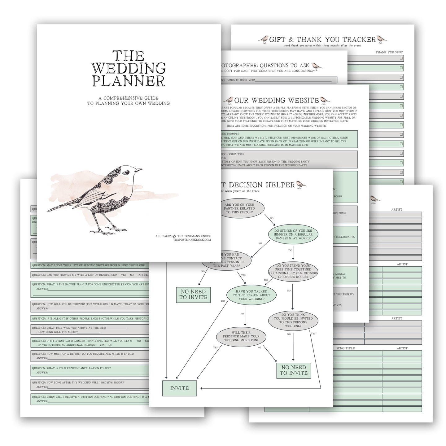 graphic regarding Printable Wedding Planning called Printable Wedding day Planner The Postmans Knock