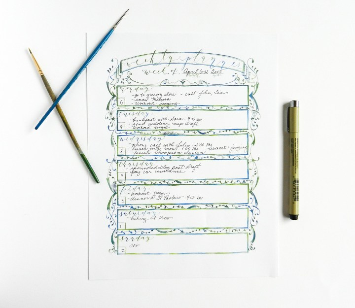 Watercolor Weekly Planner   The Postman's Knock