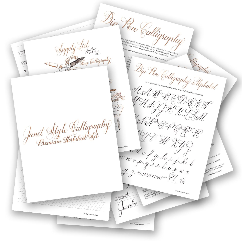 Premium Calligraphy Worksheet Set Janet Style