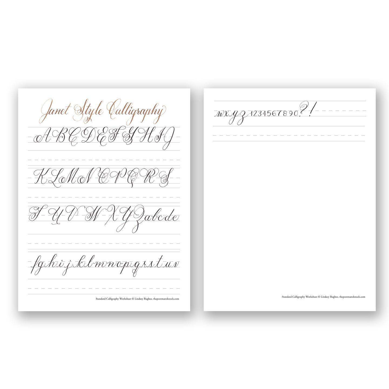 Free Basic Calligraphy Worksheet Janet Style – Free Calligraphy Worksheets