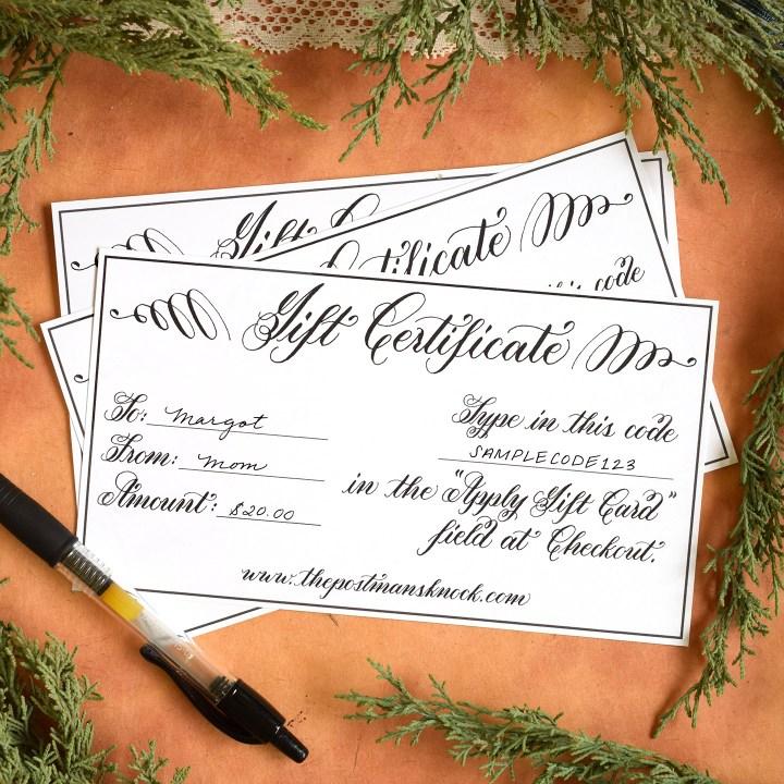 Printable Gift Certificate   The Postman's Knock