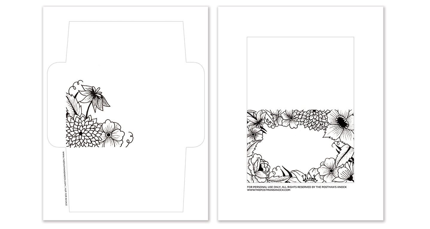 picture regarding Printable Valentines Black and White titled Printable Valentines Working day Card + Envelope The Postmans Knock