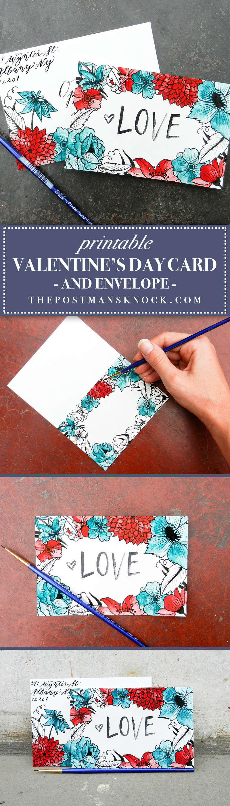 Printable Valentine's Day Card + Envelope | The Postman's Knock