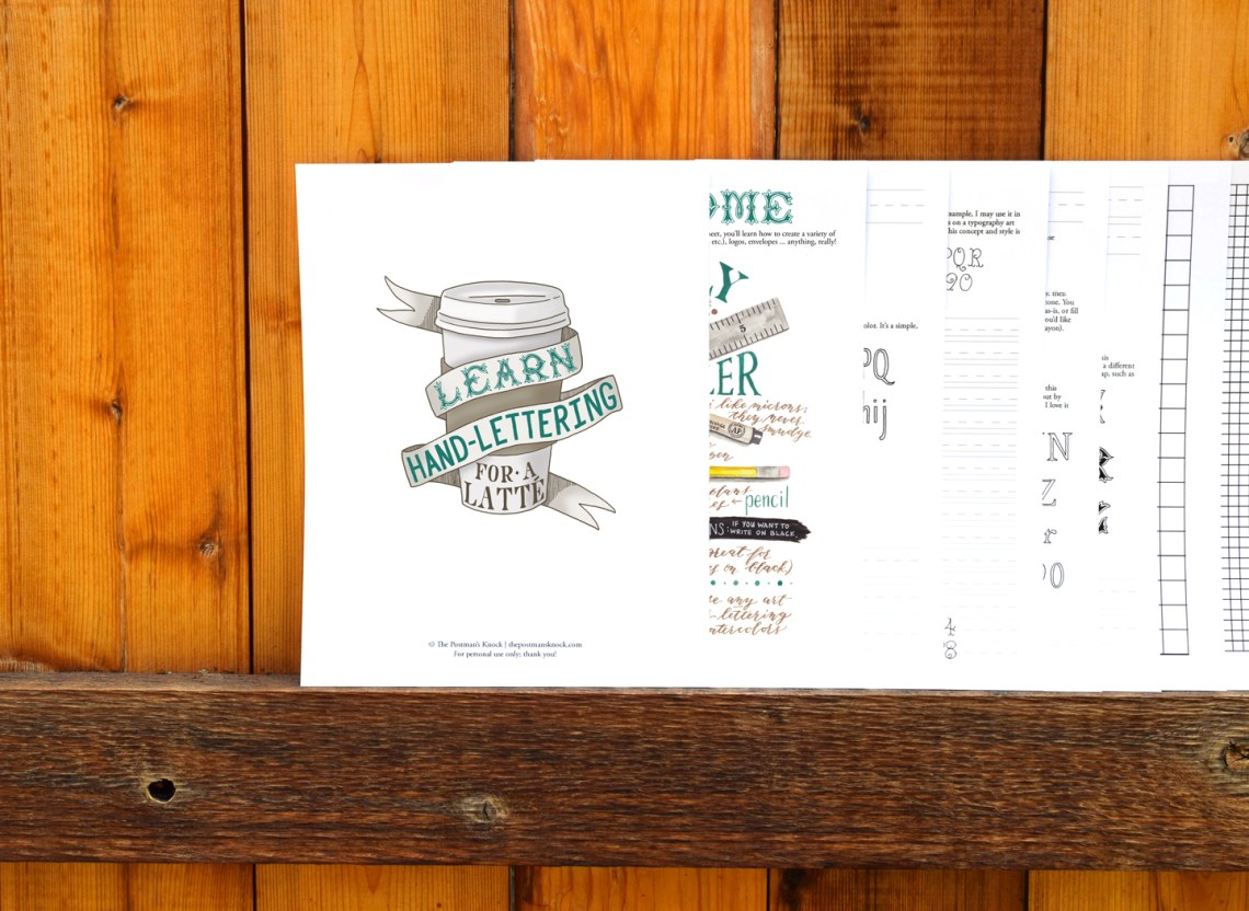 TPK's Learn Hand-Lettering for a Latte Worksheet | The Postman's Knock