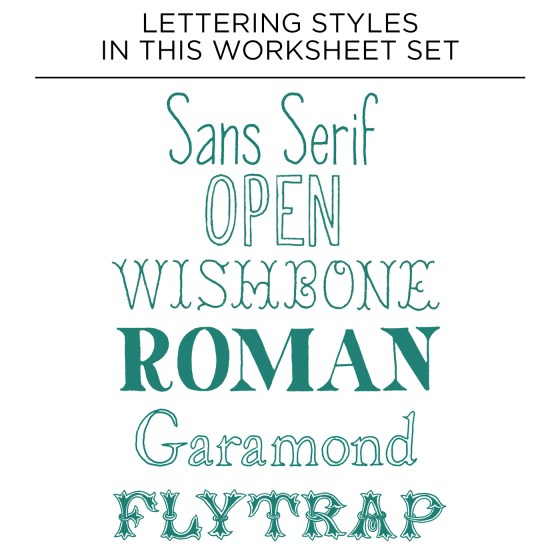 This worksheet set will teach you how to create these six hand-lettering styles!