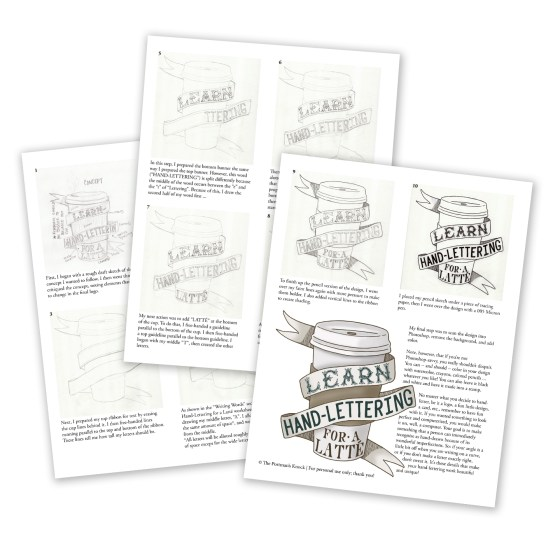 """This set also includes a separate 3-page PDF that details how I made the """"Learn Hand-Lettering for a Latte"""" logo!"""