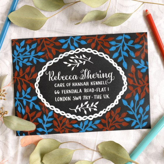 Sans Serif Lettering -- as taught in this worksheet set -- makes a fantastic addition to envelopes!