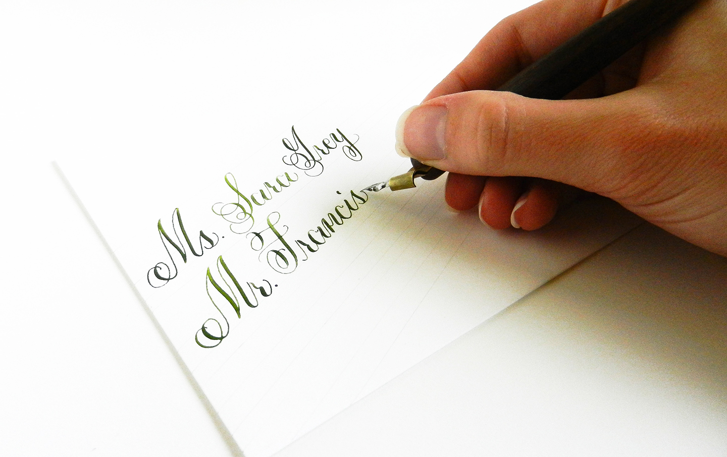 Writing Envelope Calligraphy for DIY Fabric Wedding Invitations Tutorial | The Postman's Knock