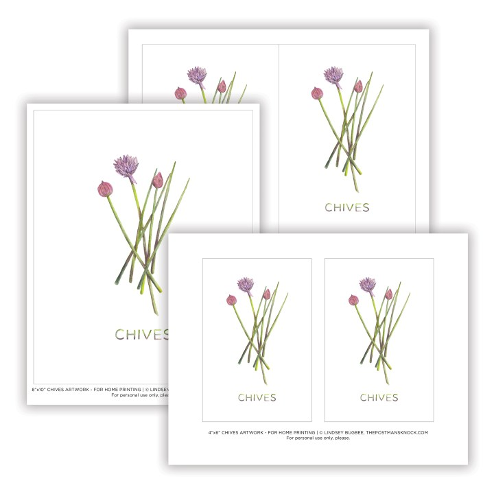 Printable Artwork: Watercolor Chives | The Postman's Knock