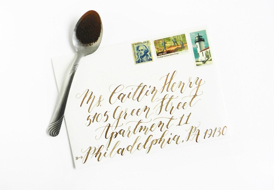 Coffee Calligraphed Envelope | The Postman's Knock