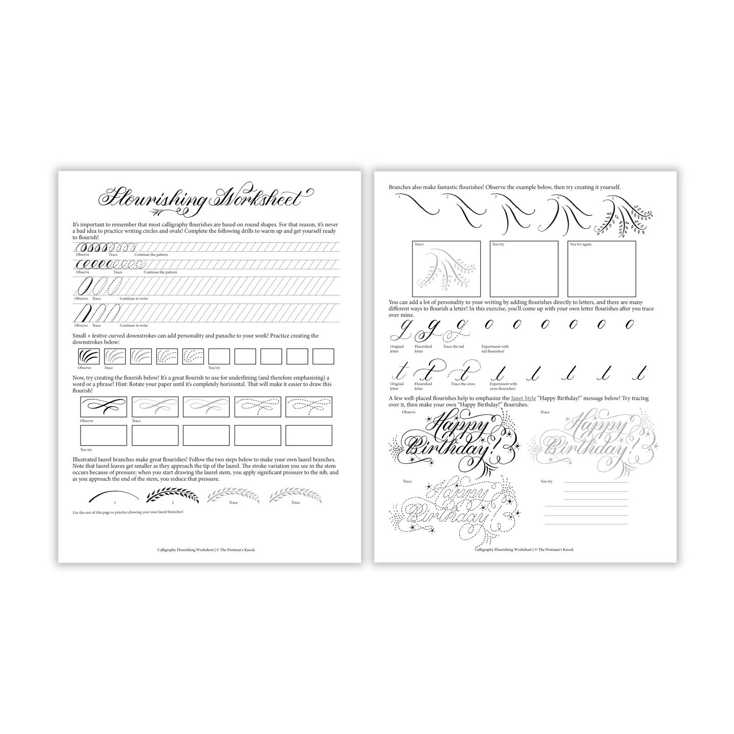 photo relating to Calligraphy Worksheets Printable called Cost-free Printable Calligraphy Thriving Worksheet