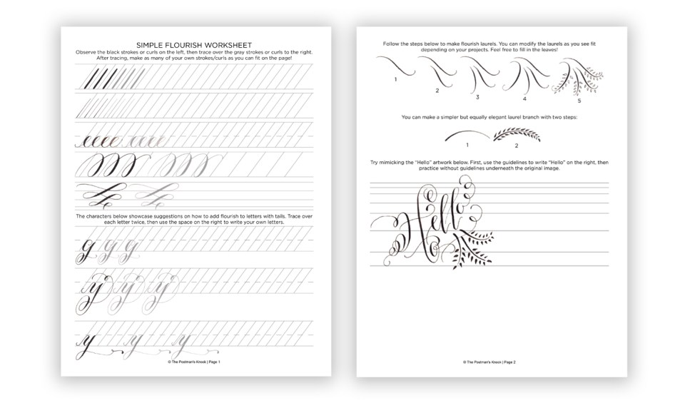 Calligraphy Flourishing for Beginners Free Worksheet – Free Calligraphy Worksheets