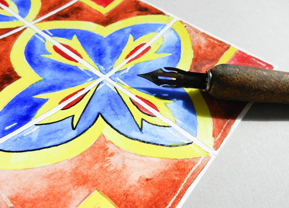Hand-Painted Tiles Illustration Tutorial   The Postman's Knock