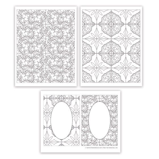 Tiles Collection Free Adult Coloring Pages | The Postman's Knock