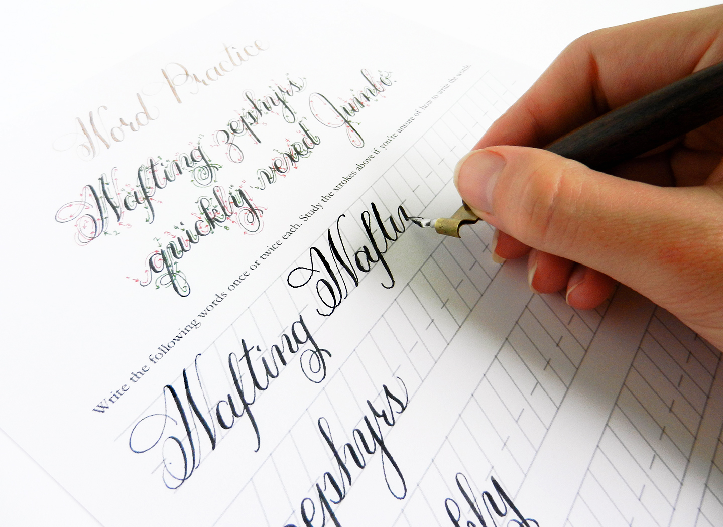 Working on the Janet Style Calligraphy Worksheet | The Postman's Knock